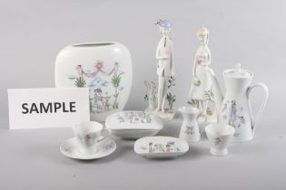 A 1960s Rosenthal Raymond Peynet Lovers decorated part coffee service, a similar vase and a pair