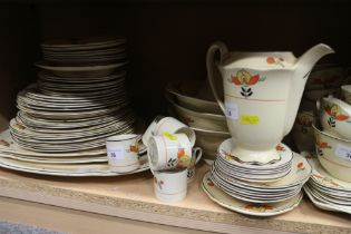 A Woods Ivory Ware part combination service with floral decoration