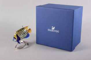 "A Swarovski model of an emperor angelfish with silver plated mount, 5"" high"