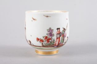 "A Meissen 18th century chocolate cup with figure and landscape decoration, 2 1/2"" high"