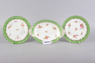 An early 20th century Coalport bone china part dessert service comprising eight plates and three