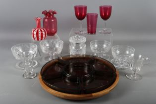 "A Venetian Lattimo glass vase with flared rim, 4"" high, four pieces of cranberry glass, four"