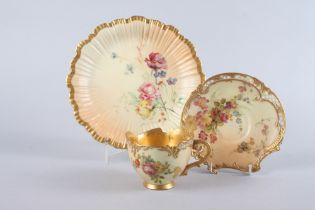 A late 19th century Worcester blush ivory floral and gilt decorated cabinet cup and saucer, and a