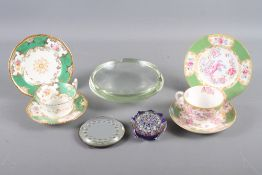 A Strathearn star-shape paperweight, a 1930s ashtray, a Victorian circular mirror stand, a