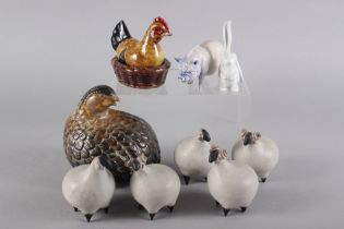 Tessa Fuchs: a set of five stoneware sheep, a porcelain boar, a modern quail and a Herend lop