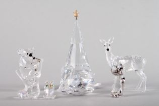 "A Swarovski model of a swan, 2"" high, a similar model of a koala and joey, 3"" high, a Christmas tree"