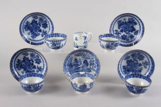 Four English flow blue decorated tea bowls and saucers, and an 18th century English blue and white