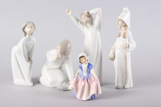 """A Royal Doulton figure, """"Dinky Do"""" HN1678, 4 1/4"""" high, and four Lladro figures (tallest 8 1/4"""""""