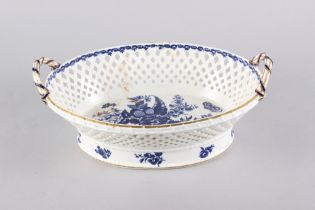 "A Worcester porcelain chestnut basket with swag decorated border and crescent mark to base, 13"" wide"