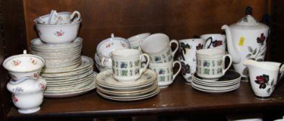 "A Royal Albert bone china ""Masquerade"" pattern part coffee service, a Royal Doulton ""Tapestry"""
