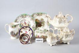 "A 19th century gilt decorated three-piece part tea service, a Spode ""Byron"" teapot, jug and four"
