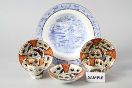 """Two 19th century Spode """"2213"""" pattern teacups, decorated in the Imari palette, three matching"""