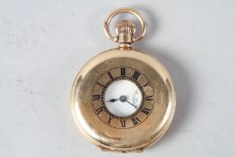 A Waltham rolled gold half hunter pocket watch with subsidiary seconds dial (cracked glass)