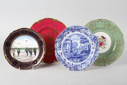A Spode limited edition Battle of Britain plate, 1541/5000, a Royal Worcester floral decorated