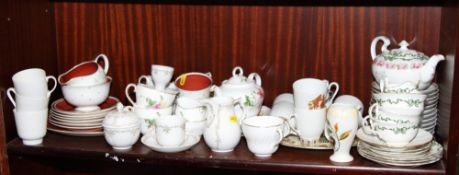 """A Susie Cooper """"Azalea"""" pattern part teaset, an Aynsley teaset for two, a Kaiser """"Reverence"""" pattern"""