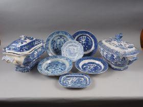 "A Masons ""Vista"" pattern blue and white tureen and cover, a ""Willow"" pattern tureen and cover, and"
