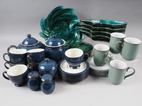 A Denby blue glazed part teaset and assorted green and black glazed dishes