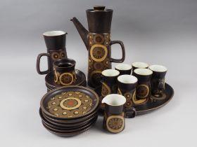 "A 1970s Denby ""Arabesque"" pattern brown glazed coffee set (coffee pot lid damaged)"