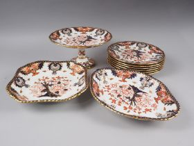 A Royal Crown Derby dessert set, pattern 383, comprising comport, two serving dishes and six dessert
