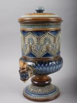 """A Royal Doulton stoneware water filter, 13"""" high, and a Doulton baluster vase, 18 1/2"""" high ("""