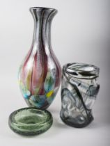 A Whitefriars black streaky design vase, a green controlled bubble design ashtray and a modern