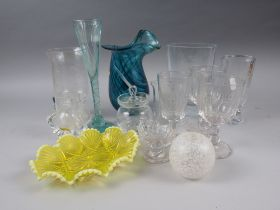 A mid 20th century Orrefors glass Romeo and Juliet vase, a smaller Kosta vase, engraved flowers, a