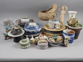 "An assortment of china, including Wedgwood jasperware, a Royal Worcester ""Mandarin Birds"" flared rim"