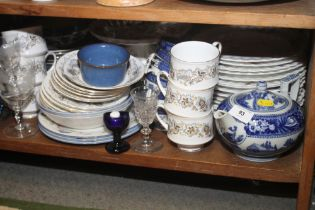 "A Wedgwood ""Fallow Deer"" teapot and jug, a Royal Standard part teaset, Denby tablewares, glass vases"