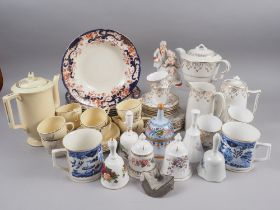 A Johnson Bros Art Deco inspired coffee set, a bone china gilt decorated part tea and coffee