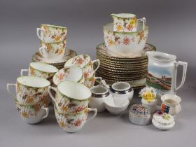 """An Edwardian green floral decorated part teaset, """"Avon"""" pattern and other decorative china"""