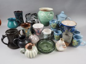 A Buchan Portobello stoneware blue coffee set and assorted studio pottery vases, etc