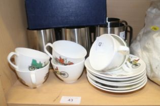 A set of six Queensbury bone china coffee cups and saucers, a pair of brandy balloons and six Old