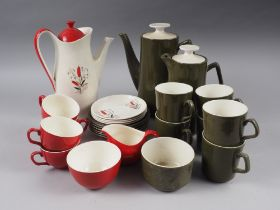A 1960s Beswick green and white part coffee set and a similar Crown Clarence red and white coffee