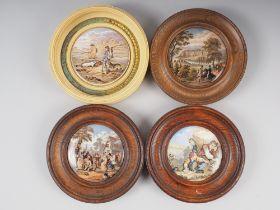 Four 19th century framed pot lids
