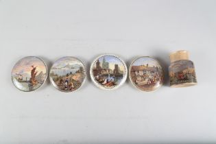 """A collection of Prattware pot lids, including """"Uncle Toby"""", """"The Ning Po River"""", """"The Snow"""