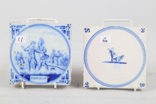 """Three 18th century tiles with ships and harbours, 5 1/4"""" square (one restored), an 18th century"""