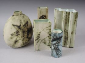 "A Carn studio pottery rectangular shaped vase, 6"" high, a smaller similar vase, 4 1/2"" high, a"
