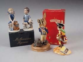 """Two Royal Copenhagen china Millennium figures, """"Emma"""" and """"Frederick"""", both boxed, and two Royal"""