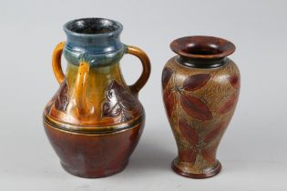 """A Crown Ducal Charlotte Rhead cachepot with floral decoration, 8"""" high (star cracked base and"""