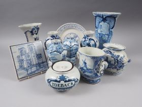 """Eight delft blue and white vases, various, a """"toeback"""" tobacco jar, etc"""
