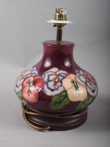 """A Moorcroft """"Pansy"""" table lamp, 8"""" high"""