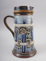 """A Royal Doulton cylindrical tapering jug, 9 1/2"""" high, two Royal Doulton vases with everted necks,"""