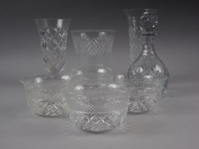 A selection of cut crystal drinking glasses by Stewart and others