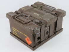 Four British 7.62 ammo boxes with carry case.