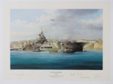 Robert Taylor, signed limited edition print 'HMS Illustrious' 26/250,