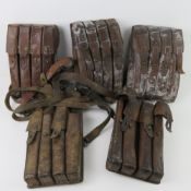 Five M56 SMG brown leather magazine pouches.
