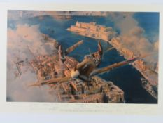 Robert Taylor, three profusely signed limited edition prints; 'Malta - George Cross' 26/250,