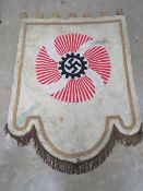 A reproduction WWII German NSDAP wall hanging, with gilt fringe and measuring approx 117 x 145cm.