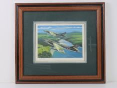 Watercolour by Nicholas Trudgian featuring two fighter planes, signed by the artist lower left,