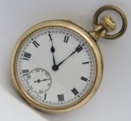A gold plated top wind open face pocket
